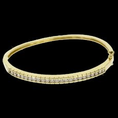 "14K 0.75 Ctw Pressure Channel Diamond Oval Bangle Bracelet 7"" Yellow Gold  [QWQX]"