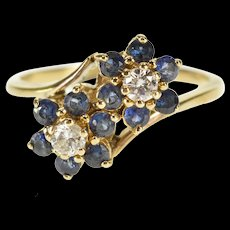 14K 0.60 Ctw Diamond Sapphire Floral Cluster Wrap Ring Size 6.75 Yellow Gold [QWQX]