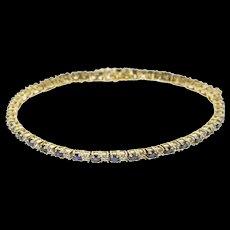 "14K 2.15 Ctw Sapphire Diamond Encrusted Tennis Bracelet 7.75"" Yellow Gold  [QWQX]"