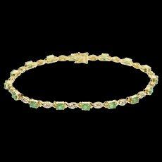 "14K 3.30 Ctw Emerald Diamond Encrusted Wavy Tennis Bracelet 7.25"" Yellow Gold  [QWQX]"
