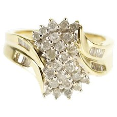 14K 1.07 Ctw Diamond Encrusted Freeform Cluster Ring Size 6.25 Yellow Gold [QWXK]