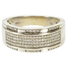 10K 0.56 Ctw Diamond Pave Encrusted Wedding Band Ring Size 8.75 White Gold [QWXK]