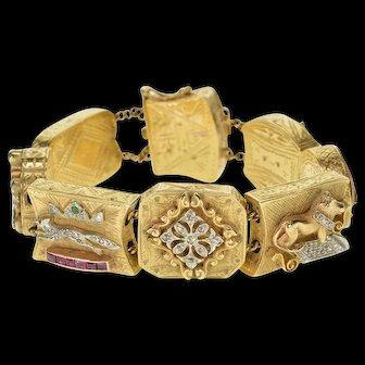 "14K 1.90 Ctw Diamond Ruby Sapphire Victorian Slide Charm Bracelet 7.5"" Yellow Gold  [QPQC]"
