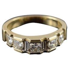 14K 1.25 Ctw Round & Baguette Pressure Set Diamond Wedding Band Ring Size 9 Yellow Gold [QWXC]
