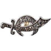 14K 0.15 CTW Diamond Shriner's Sword Lapel Tie Tack Pin/Brooch White Gold  [QWXC]
