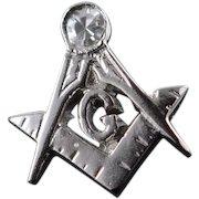 14K Genuine Diamond Vintage Mason Masonic Tie Tack Lapel Pin/Brooch White Gold  [QWXC]