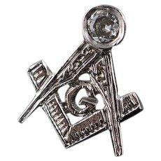 14K Genuine Diamond Mason Masonic Emblem Lapel Tie Tack Pin/Brooch White Gold  [QWXC]