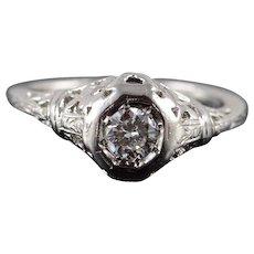 Platinum Art Deco 0.33 CTW Diamond Engagement Filigree Ring Size 6.75  [QWXC]