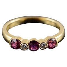 18K 0.55 CTW Ruby Diamond Wedding Band Ring Size 5.25 Yellow Gold [QWQX]