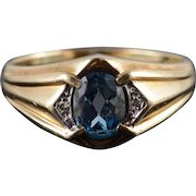10K 1.03 CTW Blue Topaz Diamond Inset Fancy Men's Ring Size 11 Yellow Gold [QWXC]