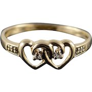 10K 0.03 CTW Diamond Interlocking Heart Band Ring Size 8 Yellow Gold [QWXC]