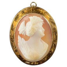 10K Victorian Carved Shell Cameo Pendant/Pin Yellow Gold  [QWQX]