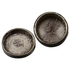 Silver 1916 Indian Rupee Hidden Secret Compartment Stacked Coins    [QWXS]