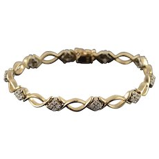 "14K 1.00 CTW Diamond Cluster Fancy Link Tennis Bracelet 7"" Yellow Gold  [QWXC]"