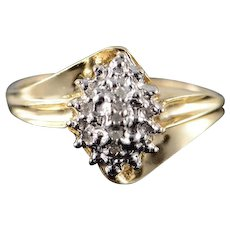 10K Genuine Diamond Cluster Ring Size 7 Yellow Gold [QWXF]