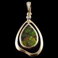 14K 15x10mm Ammolite Tear Drop Pendant Yellow Gold  [QWXC]