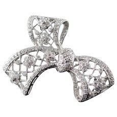 18K 0.50 CTW Diamond Filigree Ribbon Bow Pin/Brooch White Gold  [QWQQ]