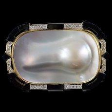 18K Retro Custom 62x40mm Mother of Pearl Black Onyx 1.00ctw Diamond Stunning Pendant/Pin Yellow Gold  [QWQQ]