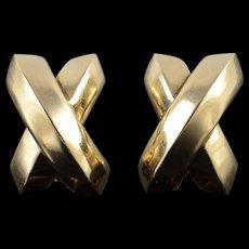 14K HUGE Hollow Criss Cross French Clip EarRings Yellow Gold  [QWQQ]
