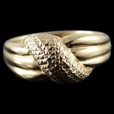 10K Knot Dimpled Criss Cross Ring Size 7 Yellow Gold [QWQQ]