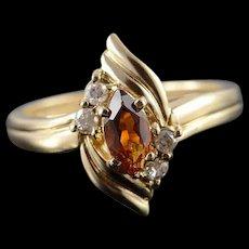 14K 0.38 CTW Citrine Diamond Ring Size 8 Yellow Gold [QWQQ]