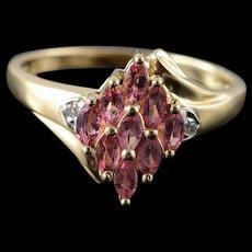 10K 1.01 CTW Pink Topaz Diamond Marquise Ring Size 9 Yellow Gold [QWQQ]