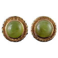14K 1970's 14mm Green Jade Cuff Links Yellow Gold  [QWQQ]