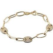 "14K Heavy Oval Link X CTW White CZ Encrusted Bracelet 8"" Yellow Gold  [QWXC]"