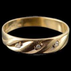 10K Genuine Diamond Inset Wedding Band Ring Size 9.5 Yellow Gold [QWQQ]