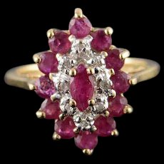14K 0.84 CTW Ruby Diamond Halo Child's Kid's Baby Ring Size 2.5 Yellow Gold [QWQQ]