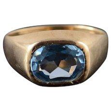 10K 2.50 CT Blue Topaz Bezel Set Ring Size 8.5 Yellow Gold [QWXT]