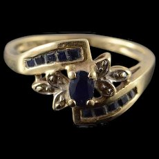 10K 0.60 CTW Sapphire Diamond Bypass Ring Size 7 Yellow Gold [QWQQ]