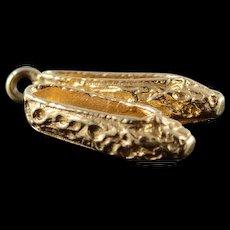 14K Ballet Dance Slippers Pair Shoes Charm/Pendant Yellow Gold  [QWQQ]