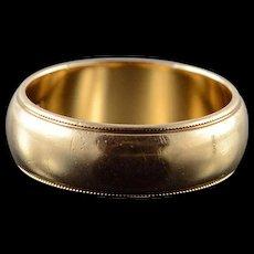 14K 6.8mm Milgrain Wedding Band Ring Size 8 Yellow Gold [QWQQ]