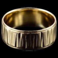 14K 7.8mm Fancy Design Wedding Band Ring Size 7.75 Yellow Gold [QWQQ]