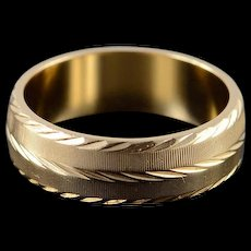 14K 5.8mm Fancy Engraved Wedding Band Ring Size 6.75 Yellow Gold [QWQQ]