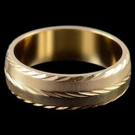 14K 5.8mm Fancy Engraved Wedding Band Ring Size 6.75 Yellow Gold [QWXT]