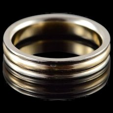 14K 4mm Grooved Wedding Band Ring Size 6.25 White / Yellow Gold [QWQQ]