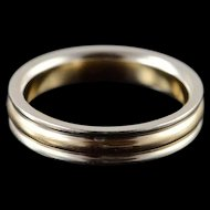 14K 4mm Grooved Wedding Band Ring Size 6.25 White / Yellow Gold [QWXT]