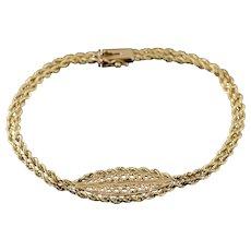 "14K Filigree Double Rope Link Twist Chain Bracelet 7"" Yellow Gold  [QWXC]"