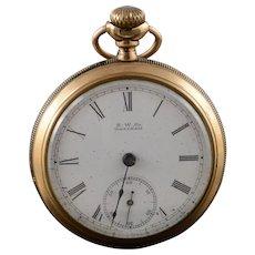 1890 American Waltham 50mm Case 7 Jewel 18s Pocket Watch [QWXC]