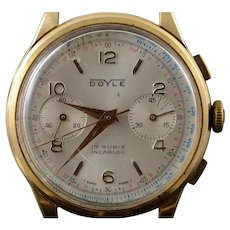 18K Doyle Chronograph Vintage Mechanical 17 Rubis Incarbloc Wrist Watch  Yellow Gold  [QWXP]