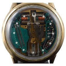 10K Gold Filled Bulova Accutron Vintage Spaceview 35mm Wrist Watch