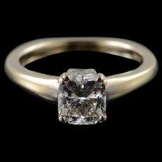 18K 1.04 CT Diamond Euro Shank Engagement Ring Size 4.75 White Gold [QWQQ]