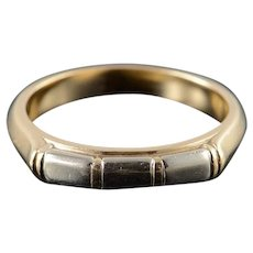 14K Heavy Two Tone Bamboo Men's Wedding Band Ring Size 12 Yellow Gold [QWQQ]