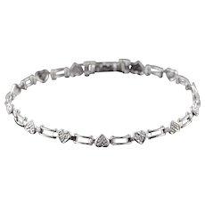 "10K Genuine Diamond Heart Link Bracelet 7"" White Gold  [QWXC]"