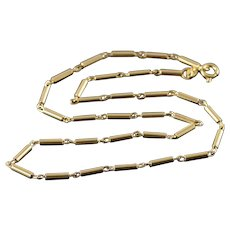 """14K 2mm Fancy Bar Link Tube Necklace 14.75"""" Yellow Gold  [QWXC]"""