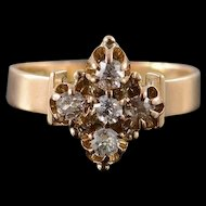14K Victorian 0.50 CTW Mine Cut Diamond Cluster Ring Size 5.25 Yellow Gold [QWXK]