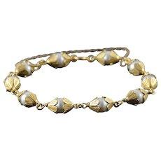 """18K 7mm Pearl Fancy Flower Petal Leaf Motif Link Bracelet 8"""" Yellow Gold  [QWXC]"""