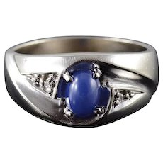 10K 0.63 CTW Blue Star Syn. Sapphire Diamond Band Ring Size 8.75 White Gold [QWXK]